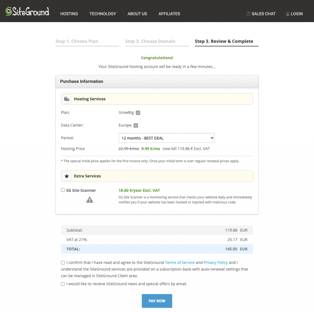 SiteGround Domain Name